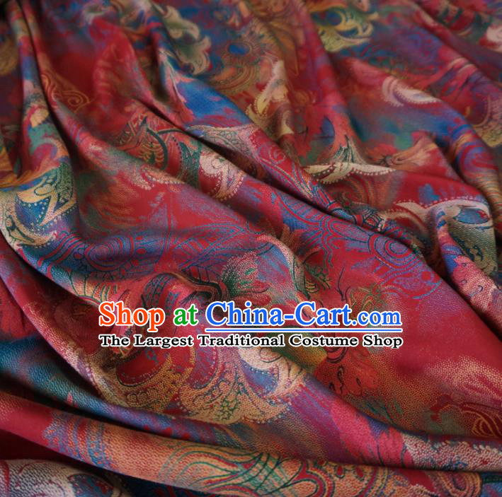 Asian Chinese Traditional Royal Pattern Red Watered Gauze Cheongsam Silk Fabric Chinese Fabric Material