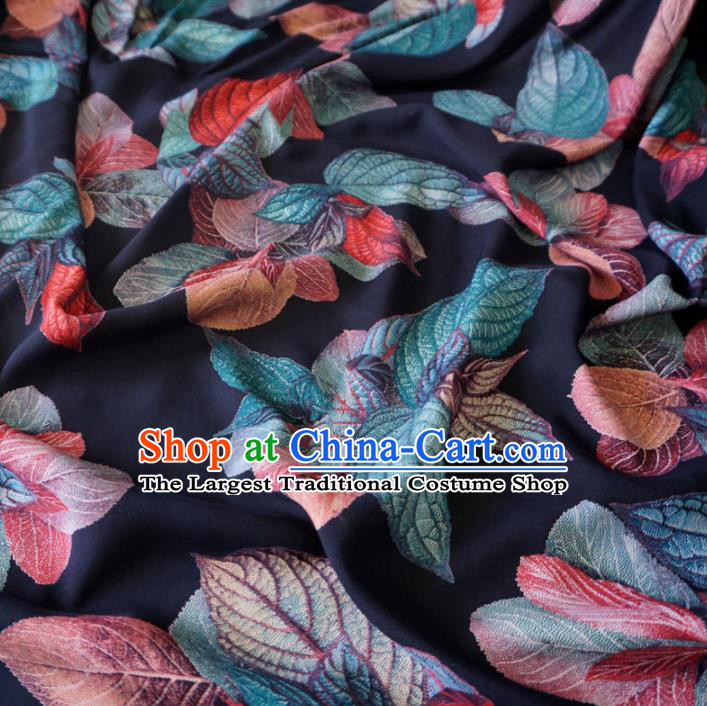 Asian Chinese Traditional Leaf Pattern Navy Watered Gauze Cheongsam Silk Fabric Chinese Fabric Material