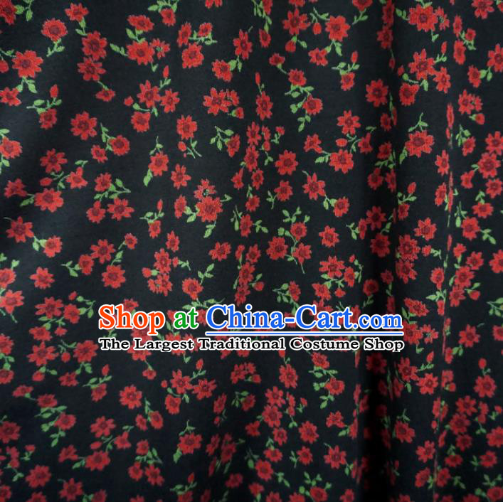 Asian Chinese Traditional Flowers Pattern Design Black Watered Gauze Cheongsam Silk Fabric Chinese Fabric Material