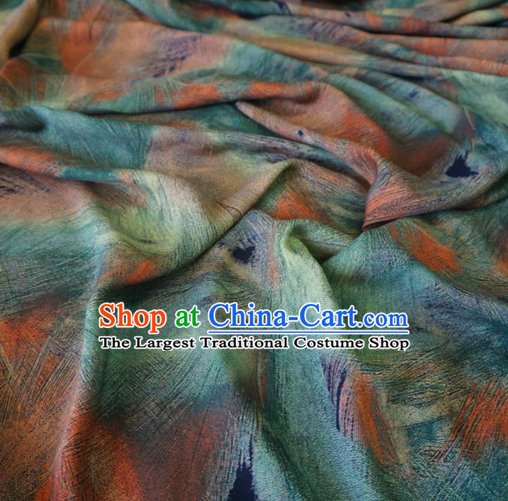 Asian Chinese Traditional Feather Pattern Green Watered Gauze Cheongsam Silk Fabric Chinese Fabric Material