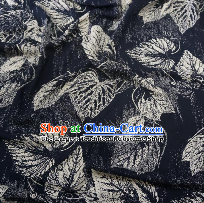 Asian Chinese Traditional Leaf Pattern Design Black Watered Gauze Cheongsam Silk Fabric Chinese Fabric Material