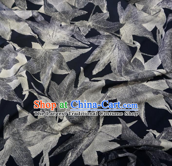 Asian Chinese Traditional Maple Leaf Pattern Design Black Watered Gauze Cheongsam Silk Fabric Chinese Fabric Material