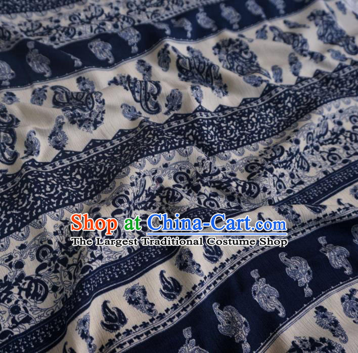 Asian Chinese Traditional Pattern Design Navy Watered Gauze Cheongsam Silk Fabric Chinese Fabric Material