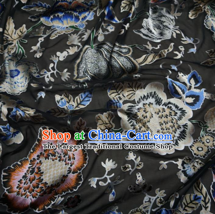 Asian Chinese Traditional Pattern Design Black Watered Gauze Cheongsam Silk Fabric Chinese Fabric Material