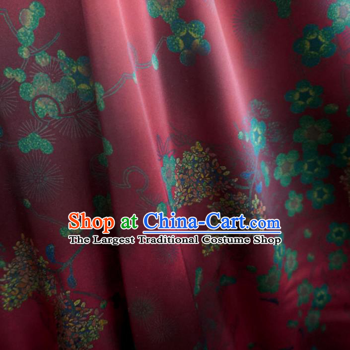 Asian Chinese Traditional Plum Blossom Pattern Design Red Watered Gauze Cheongsam Silk Fabric Chinese Fabric Material