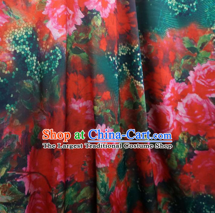 Asian Chinese Traditional Red Roses Pattern Design Watered Gauze Cheongsam Silk Fabric Chinese Fabric Material