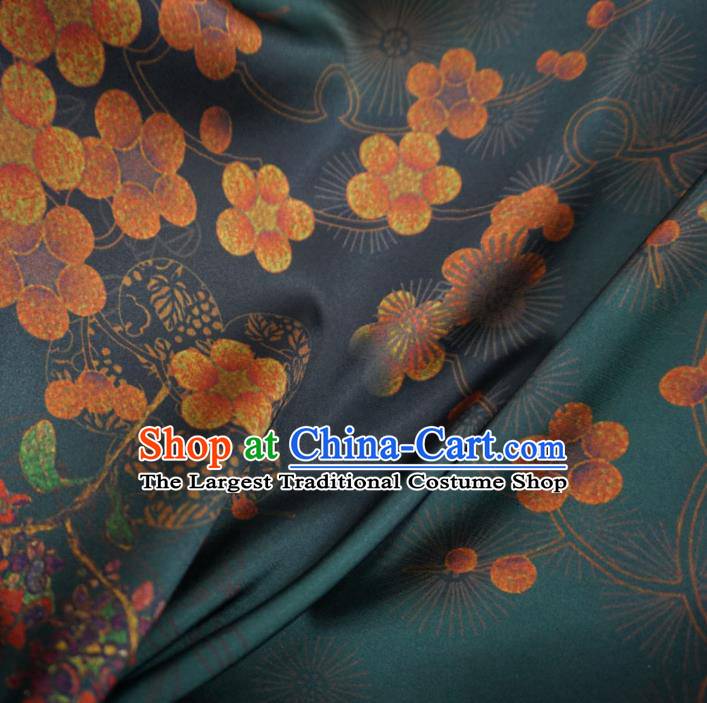 Asian Chinese Traditional Plum Blossom Pattern Design Green Watered Gauze Cheongsam Silk Fabric Chinese Fabric Material