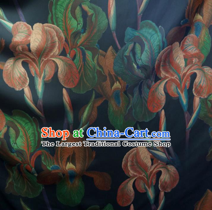 Asian Chinese Traditional Flowers Pattern Design Navy Watered Gauze Cheongsam Silk Fabric Chinese Fabric Material