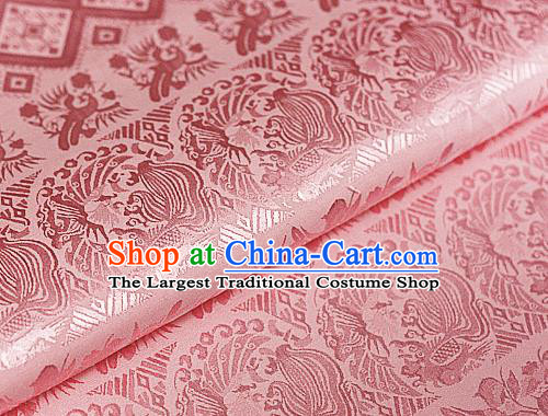 Asian Chinese Traditional Royal Pattern Pink Brocade Cheongsam Silk Fabric Chinese Satin Fabric Material