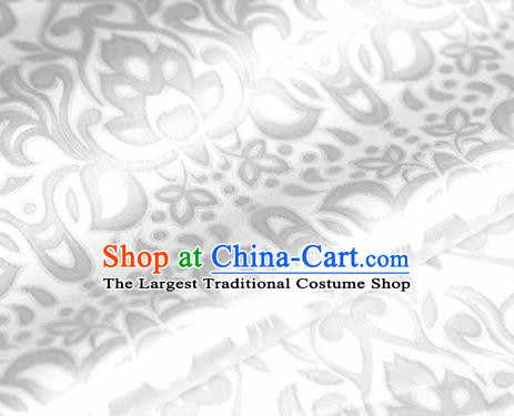 Asian Chinese Traditional Royal Lotus Pattern White Brocade Cheongsam Silk Fabric Chinese Satin Fabric Material