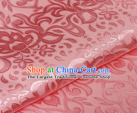 Asian Chinese Traditional Royal Lotus Pattern Pink Brocade Cheongsam Silk Fabric Chinese Satin Fabric Material