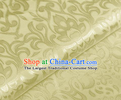 Asian Chinese Traditional Royal Lotus Pattern Yellow Brocade Cheongsam Silk Fabric Chinese Satin Fabric Material