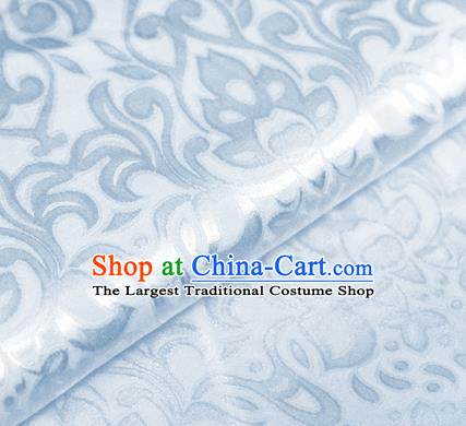Asian Chinese Traditional Royal Lotus Pattern Light Blue Brocade Cheongsam Silk Fabric Chinese Satin Fabric Material