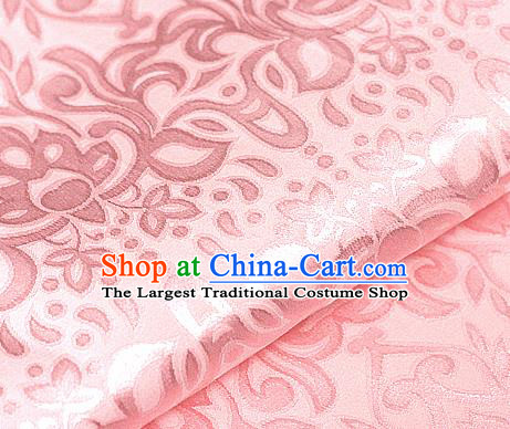 Asian Chinese Traditional Royal Lotus Pattern Light Pink Brocade Cheongsam Silk Fabric Chinese Satin Fabric Material