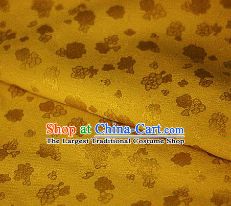 Asian Chinese Traditional Royal Flowers Pattern Yellow Brocade Cheongsam Silk Fabric Chinese Satin Fabric Material