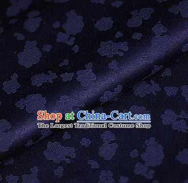 Asian Chinese Traditional Royal Flowers Pattern Navy Brocade Cheongsam Silk Fabric Chinese Satin Fabric Material