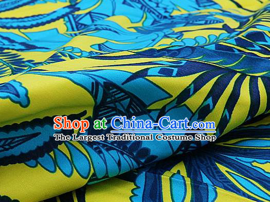Asian Chinese Traditional Classical Willow Leaf Pattern Yellow Brocade Cheongsam Silk Fabric Chinese Satin Fabric Material