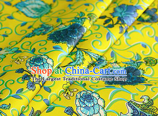 Asian Chinese Traditional Classical Peony Pattern Yellow Brocade Cheongsam Silk Fabric Chinese Satin Fabric Material