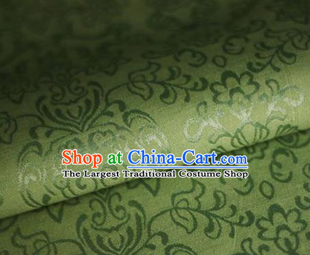 Asian Chinese Traditional Twine Grass Pattern Green Brocade Cheongsam Silk Fabric Chinese Satin Fabric Material