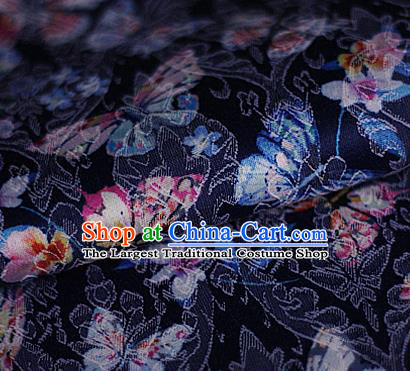 Asian Chinese Traditional Butterfly Pattern Navy Brocade Cheongsam Silk Fabric Chinese Satin Fabric Material