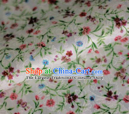 Asian Chinese Classical Flowers Pattern White Brocade Cheongsam Silk Fabric Chinese Traditional Satin Fabric Material