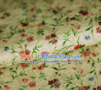 Asian Chinese Classical Flowers Pattern Yellow Brocade Cheongsam Silk Fabric Chinese Traditional Satin Fabric Material