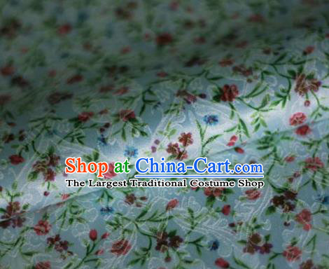 Asian Chinese Classical Flowers Pattern Blue Brocade Cheongsam Silk Fabric Chinese Traditional Satin Fabric Material