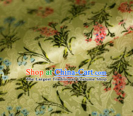 Asian Chinese Classical Orchid Pattern Yellow Brocade Cheongsam Silk Fabric Chinese Traditional Satin Fabric Material
