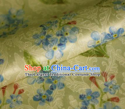 Asian Chinese Classical Little Flowers Pattern Yellow Brocade Cheongsam Silk Fabric Chinese Traditional Satin Fabric Material