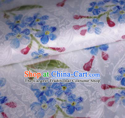 Asian Chinese Classical Little Flowers Pattern White Brocade Cheongsam Silk Fabric Chinese Traditional Satin Fabric Material
