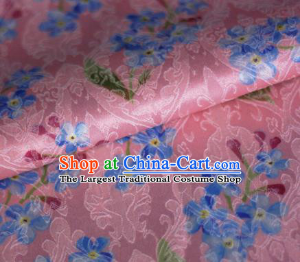 Asian Chinese Classical Little Flowers Pattern Pink Brocade Cheongsam Silk Fabric Chinese Traditional Satin Fabric Material