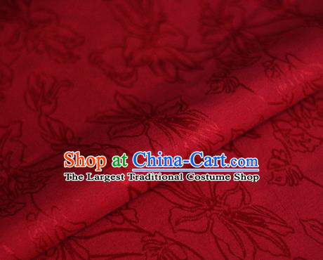 Asian Chinese Traditional Classical Jacquard Pattern Red Brocade Cheongsam Silk Fabric Chinese Satin Fabric Material