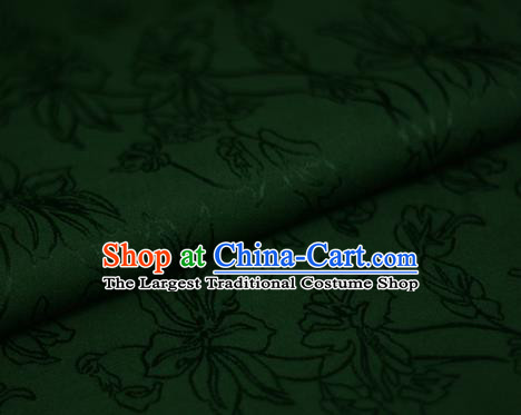 Asian Chinese Traditional Classical Jacquard Pattern Deep Green Brocade Cheongsam Silk Fabric Chinese Satin Fabric Material