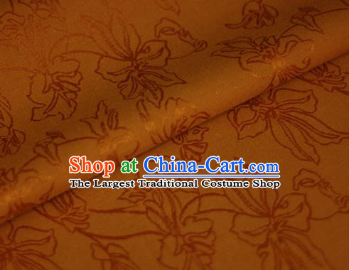 Asian Chinese Traditional Classical Jacquard Pattern Orange Brocade Cheongsam Silk Fabric Chinese Satin Fabric Material