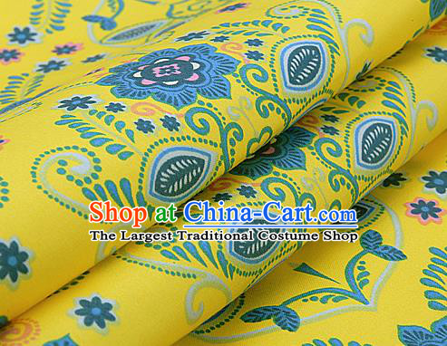 Asian Chinese Traditional Classical Flowers Pattern Yellow Brocade Cheongsam Silk Fabric Chinese Satin Fabric Material