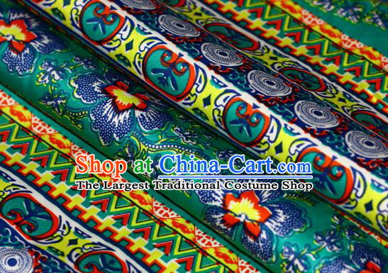 Asian Chinese Traditional Classical Flowers Pattern Green Brocade Cheongsam Silk Fabric Chinese Satin Fabric Material