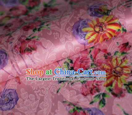 Asian Chinese Classical Daisy Pattern Pink Brocade Cheongsam Silk Fabric Chinese Traditional Satin Fabric Material