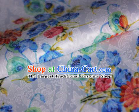 Asian Chinese Classical Daisy Pattern White Brocade Cheongsam Silk Fabric Chinese Traditional Satin Fabric Material