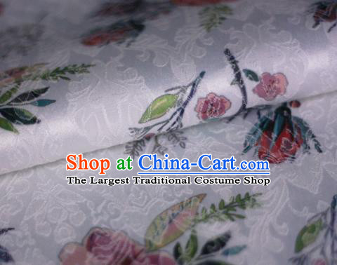 Asian Chinese Classical Rose Pattern White Brocade Cheongsam Silk Fabric Chinese Traditional Satin Fabric Material