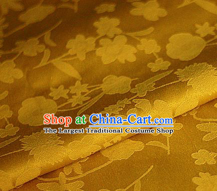 Asian Chinese Classical Pattern Golden Brocade Cheongsam Silk Fabric Chinese Traditional Satin Fabric Material