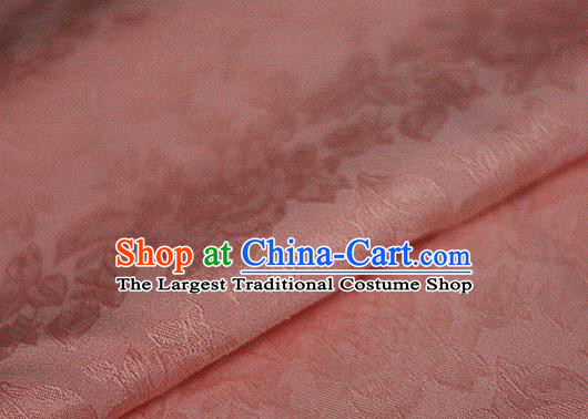 Asian Chinese Classical Peony Pattern Pink Brocade Cheongsam Silk Fabric Chinese Traditional Satin Fabric Material