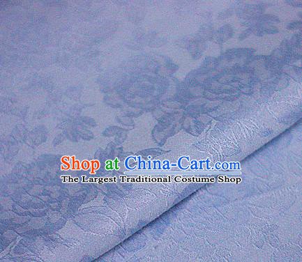 Asian Chinese Classical Peony Pattern Blue Brocade Cheongsam Silk Fabric Chinese Traditional Satin Fabric Material