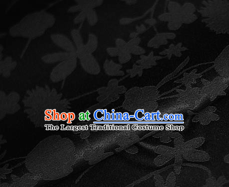 Asian Chinese Classical Pattern Black Brocade Cheongsam Silk Fabric Chinese Traditional Satin Fabric Material