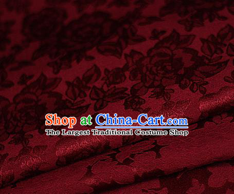 Asian Chinese Classical Peony Pattern Red Brocade Cheongsam Silk Fabric Chinese Traditional Satin Fabric Material