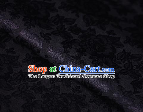 Asian Chinese Classical Peony Pattern Black Brocade Cheongsam Silk Fabric Chinese Traditional Satin Fabric Material