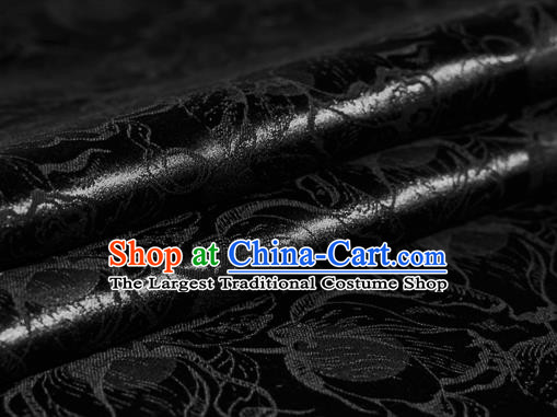 Chinese Classical Tulip Pattern Black Brocade Cheongsam Silk Fabric Chinese Traditional Satin Fabric Material
