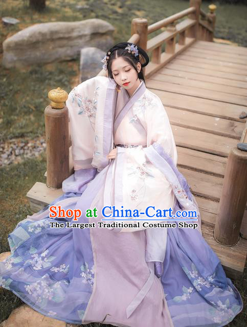 Chinese Traditional Ancient Imperial Concubine Embroidered Hanfu Dress Jin Dynasty Court Lady Historical Costume for Women