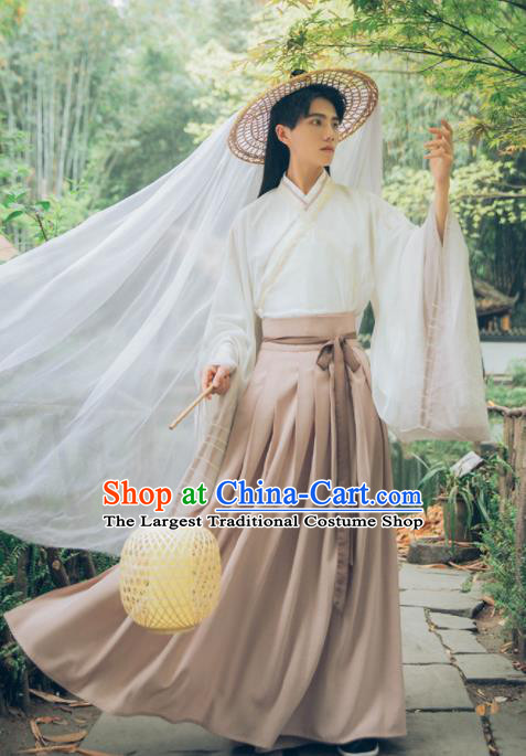 Chinese Ancient Swordsman Hanfu Clothing Traditional Jin Dynasty Scholar Historical Costume for Men
