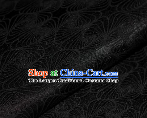Chinese Classical Linellae Pattern Black Brocade Cheongsam Silk Fabric Chinese Traditional Satin Fabric Material