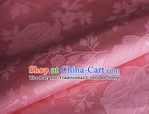 Chinese Classical Flowers Pattern Design Pink Brocade Cheongsam Silk Fabric Chinese Traditional Satin Fabric Material